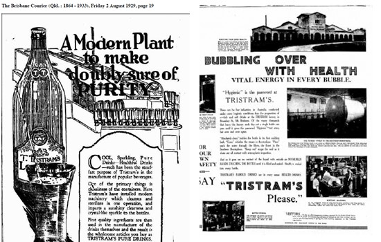 Ad's for the Tristram soft drink in The Brisbane Courier, the precursor to today's The Courier-Mail